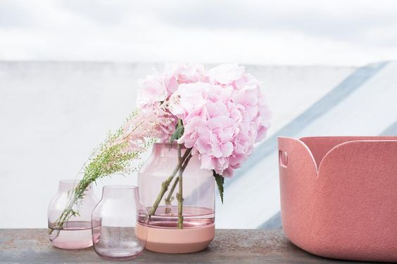 Elevated vase and restore basket from Muuto styling a beautiful Pinkish mood, perfect for the colour trends for spring 2016, pink flowers, interiors