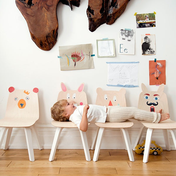 Bear and rabbit play chairs, play stickers Oeuf NYC, kidsroom, playroom
