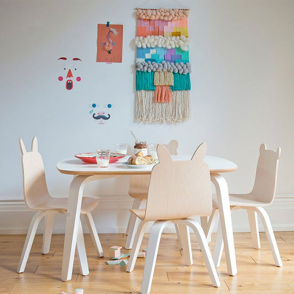 Play table and chairs Oeuf NYC, kids playroom, stickers