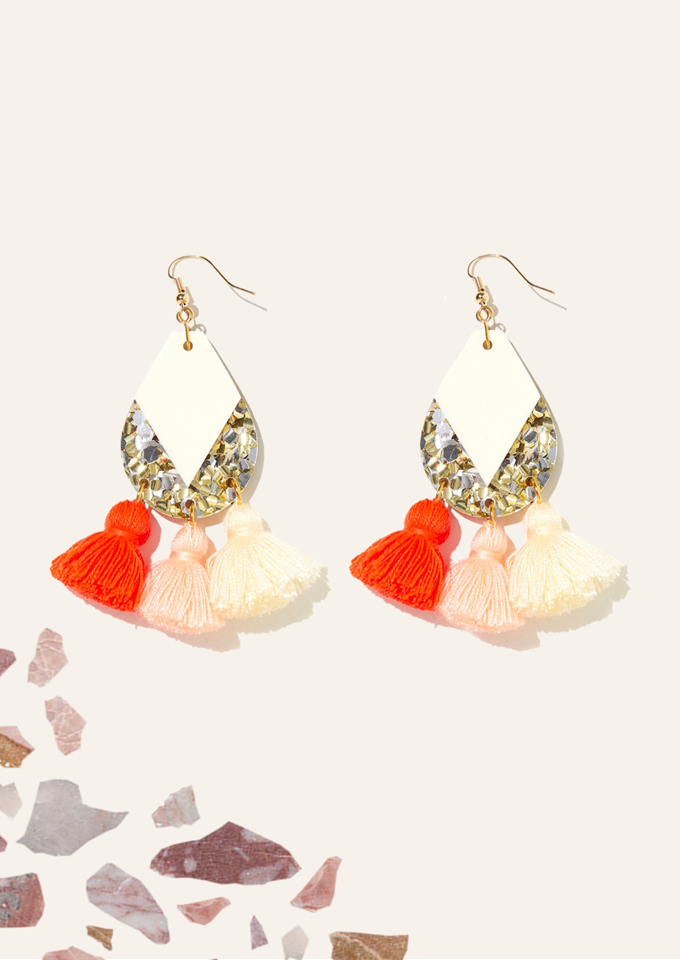 Carnival Earrings Gold & Cream