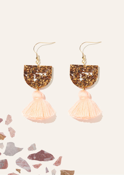 Annie Earrings Bronze & Peach