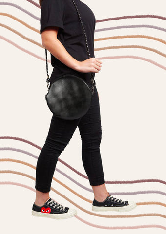 Round Shoulder Bag - Metallic Black