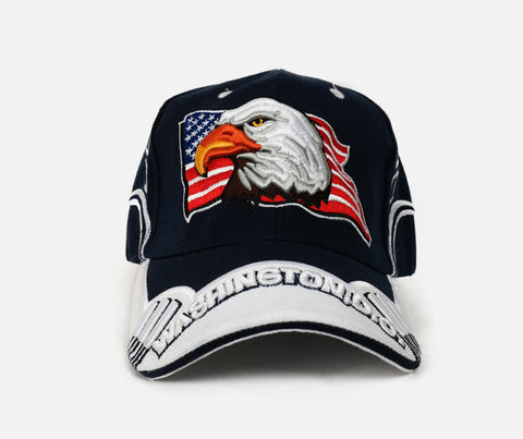 American Flag with Eagle Adjustable Hat (Navy)