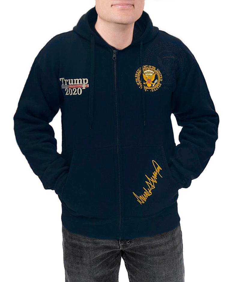Trump 2020 Presidential Seal Embroidered Zipped Hoodie Unisex