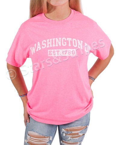Washington DC EST 1790 Tee Shirt (hot pink)