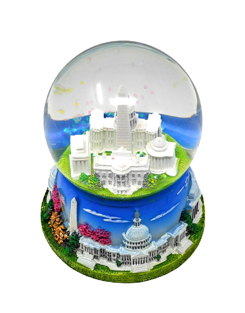 "Large Washington DC Landmark Buildings Snow Globe 4.75"" with Featuring National Anthem Music (Blue)"