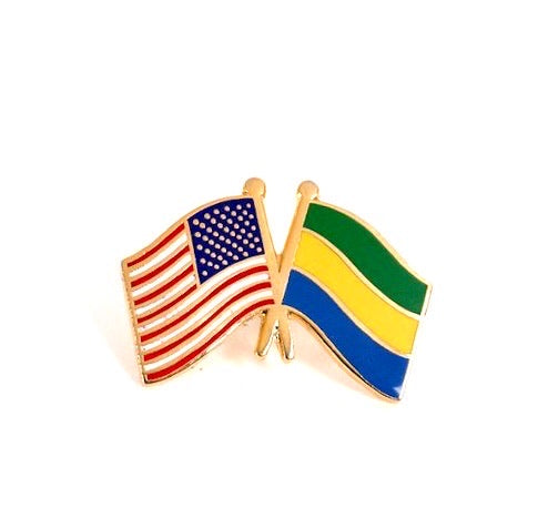 USA/ Gabon Flag Lapel Pin