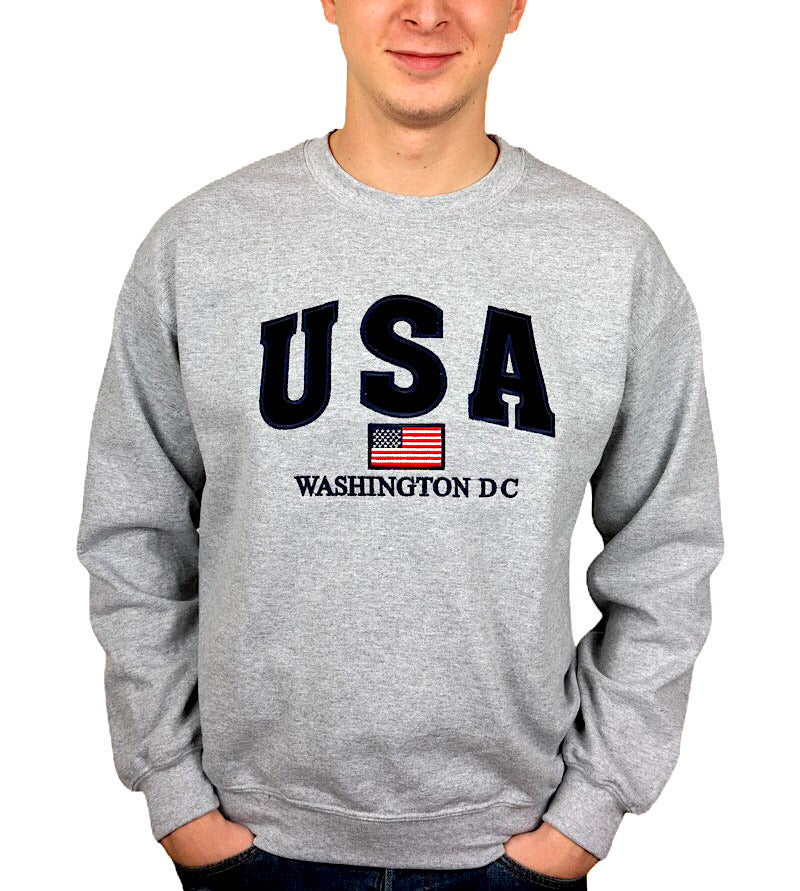 USA Embroidered  Washington DC Unisex Crewneck Sweatshirt (Grey)