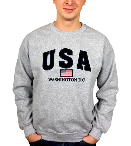USA Embroidered  Washington DC Crewneck (Grey)