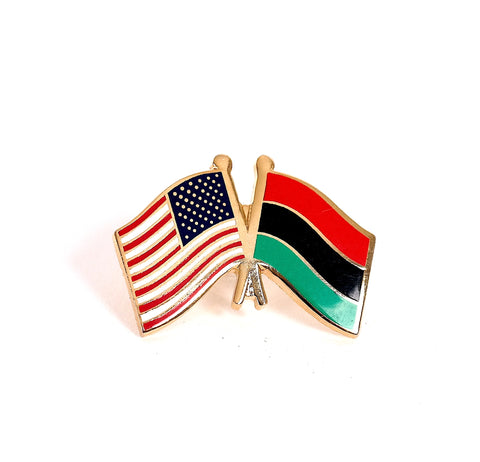 USA/ Afro-American flag lapel pin