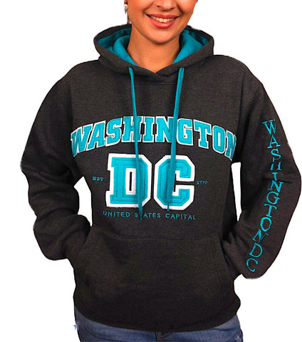 Washington DC Sweatshirt (Gray with Turquoise Letters)