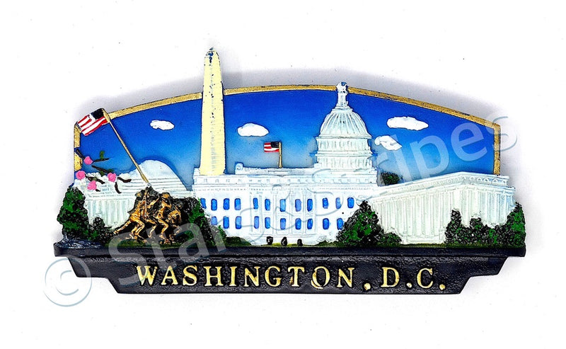 Ceramic Washington DC Panorama Magnet (Blue)