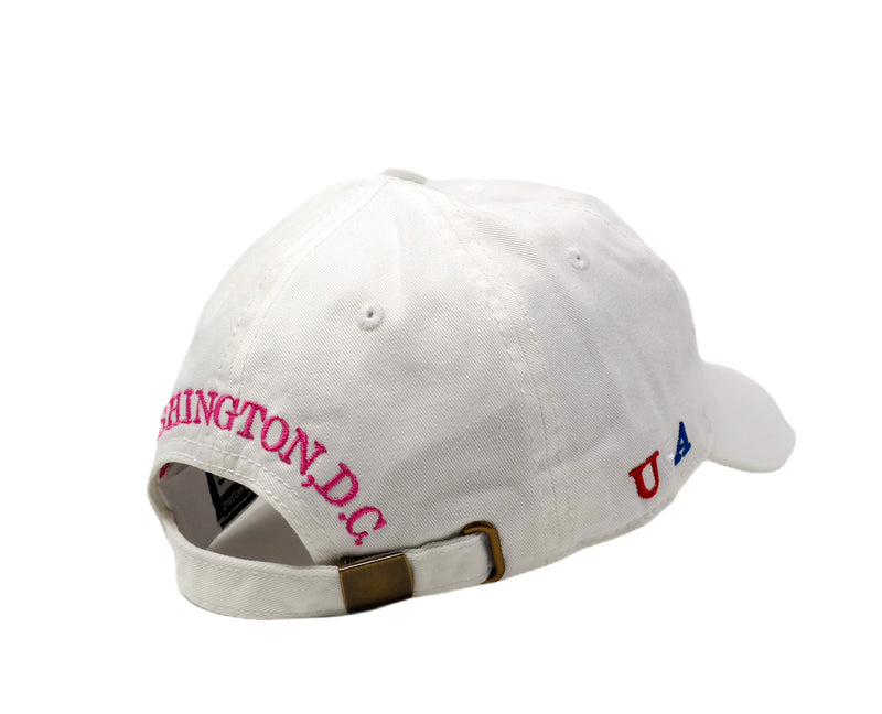 Washington DC Cap Baseball Hat Cap (White/hot pink)