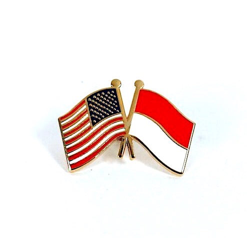 USA/Indonesia Flag Lapel Pib