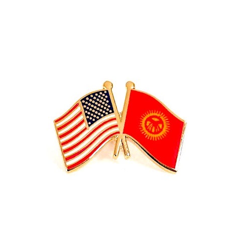 USA/Kyrgyzstan Flag Lapel Pin