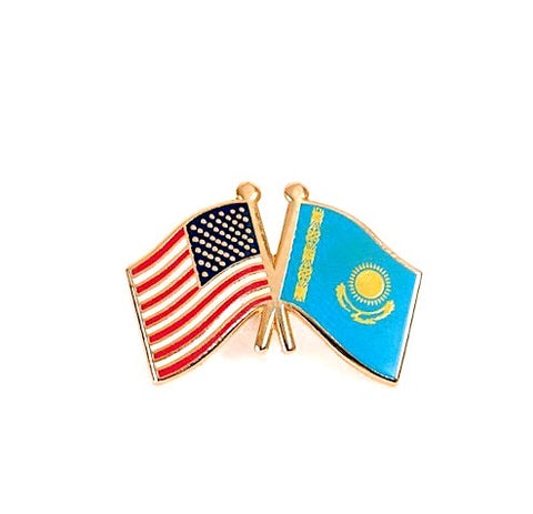 USA/Kazakhstan Flag Lapel Pin