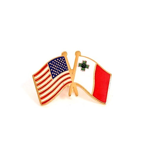 USA/ Malta Flag Lapel Pin