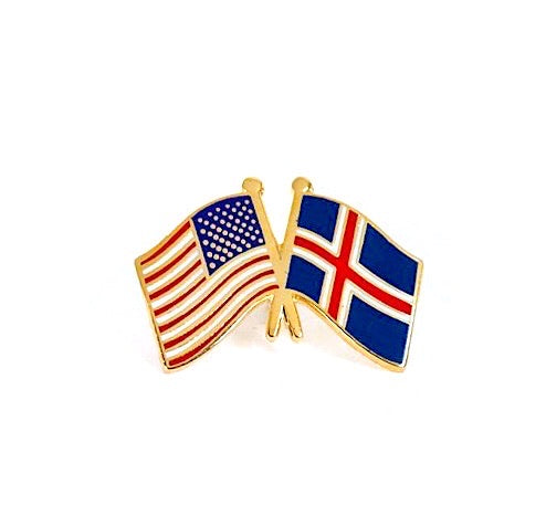 USA/Iceland Flag Lapel Pin