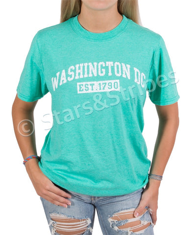 Washington DC EST 1790 Tee Shirt (light green)