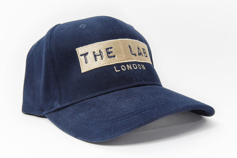 The Lab London French Navy Blue & Champagne Belt Back Cap