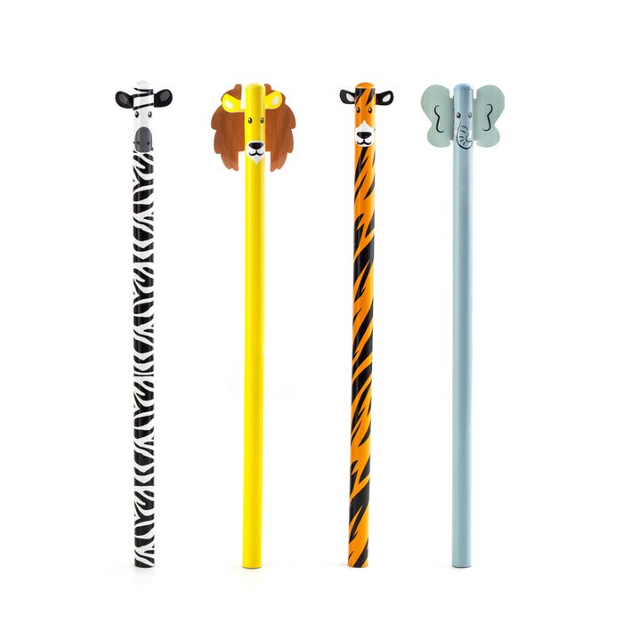 Safari Animal Pencil Set Of 4