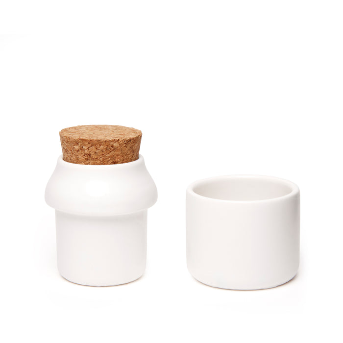 Ceramic Grinder + Jar Small White