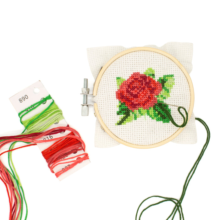 Mini Cross Stitch Embroidery Kit - Rose