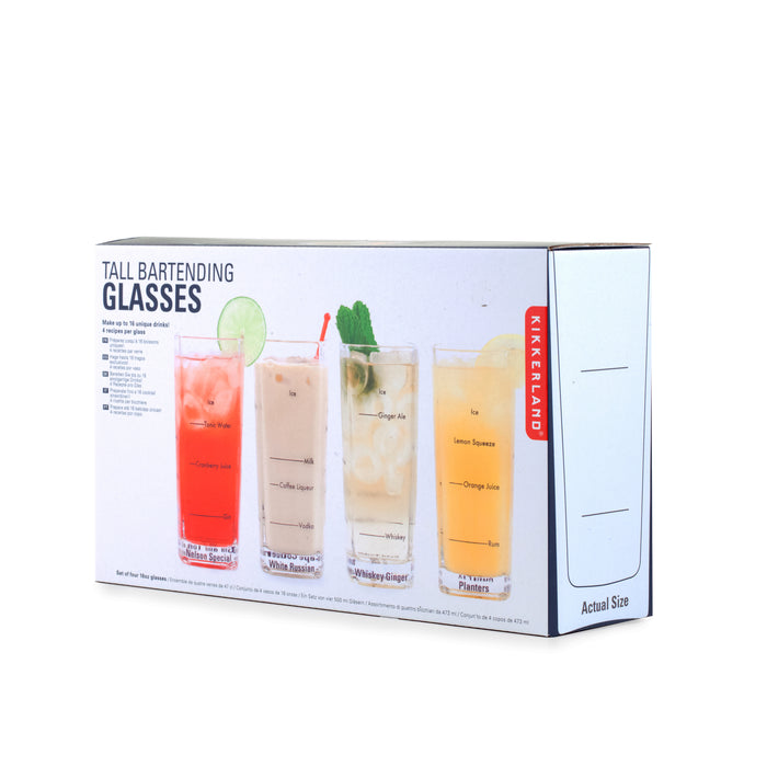 Tall Bartending Glasses Set Of 4