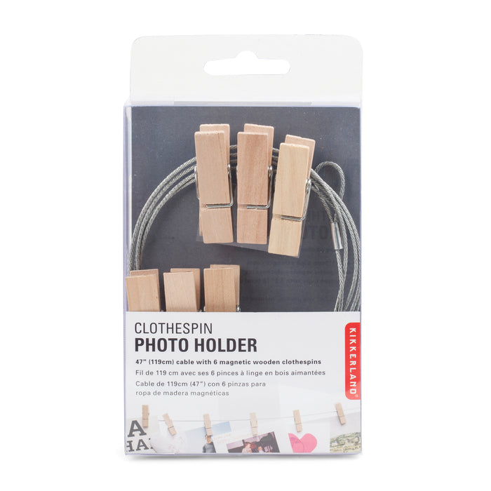 Photo Holder Wire With 6 Wood Clothespins