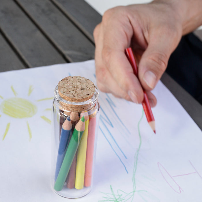 Colored Pencils Set Of 12 In Glass Jar