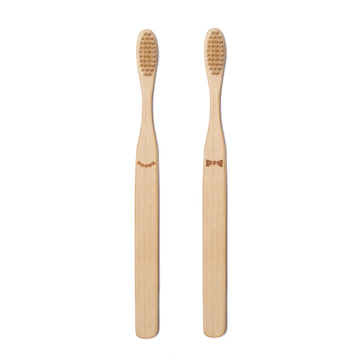 His & Her Bamboo Toothbrush Set