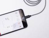 iPhone Lightning Black Cotton Braided Charging Cable