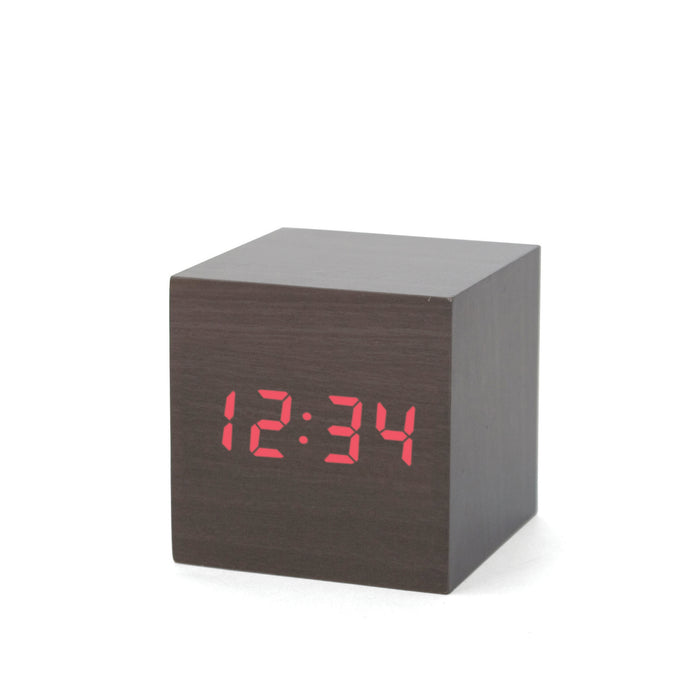 Alarm Clock Wood Cube Dark