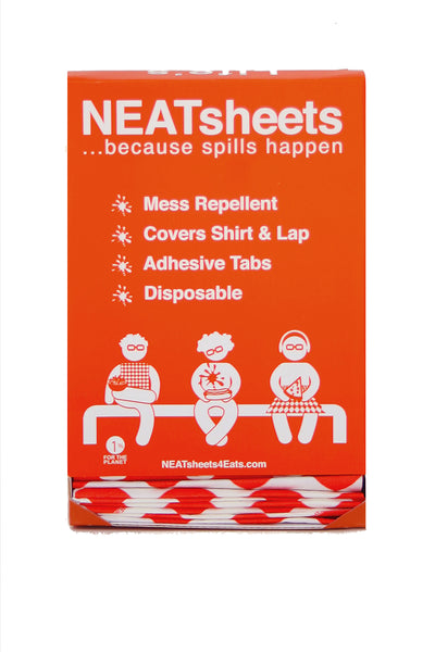 NEATsheets Dispenser Box comes pre-packed with 100 Red & White Diamond disposable clothing protectors with two easy-to-use adhesive tabs.