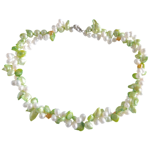 Double Green Blister Twisted Freshwater Pearl Necklace - Pearly Pearl - 1