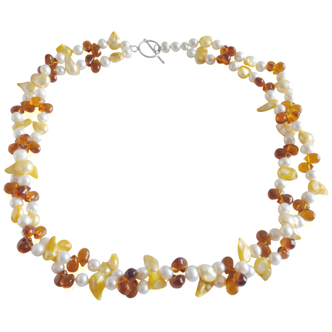 Yellow & White with Amber Crystals Double Freshwater Pearl Necklace - Pearly Pearl - 1