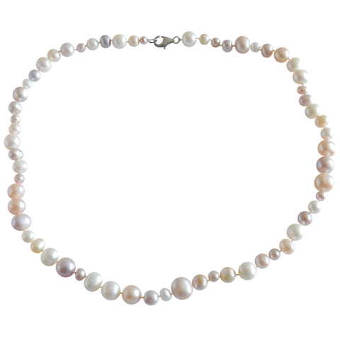 Multicolored and Multi-Sized Freshwater Cultured Pearl Necklace - Pearly Pearl - 1