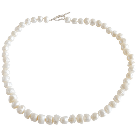 White Baroque Nugget Freshwater Pearl Necklace - Pearly Pearl - 1