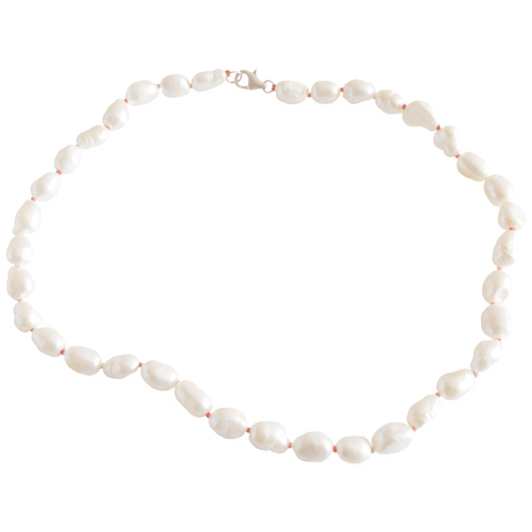White Smooth Potato Freshwater Pearl Necklace - Pearly Pearl - 1