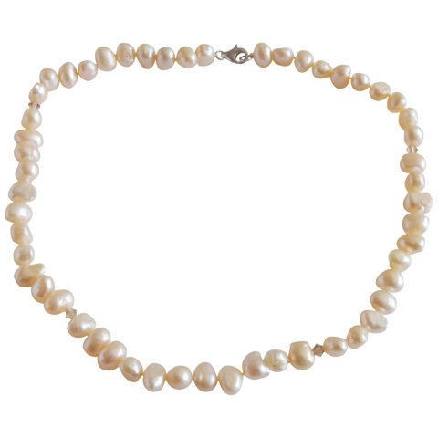 Peach Single Strand Freshwater Pearl Necklace - Pearly Pearl - 1