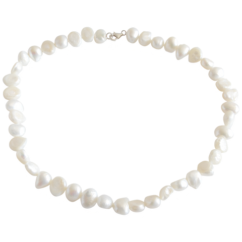 White Smooth Nugget Freshwater Pearl Necklace - Pearly Pearl - 1