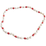 White Smooth Potato with Red Beads Freshwater Pearl Necklace - Pearly Pearl - 1