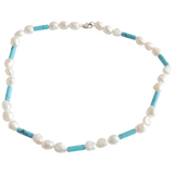 White Smooth Potato with Blue Turquoise Beads Freshwater Pearl Necklace - Pearly Pearl - 1