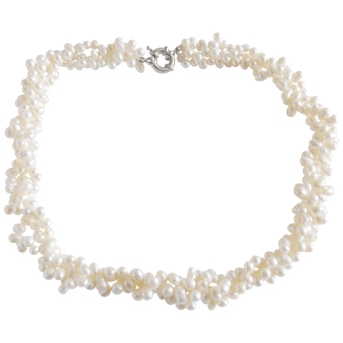 White Triple Twisted Freshwater Pearl Necklace - Pearly Pearl - 1