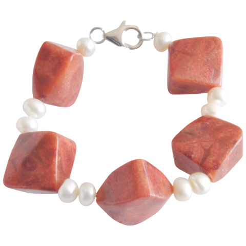 White Button & Coral Bead Freshwater Pearl Bracelet - Pearly Pearl - 1
