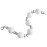 Grey Button & White Bead Freshwater Pearl Bracelet - Pearly Pearl - 2