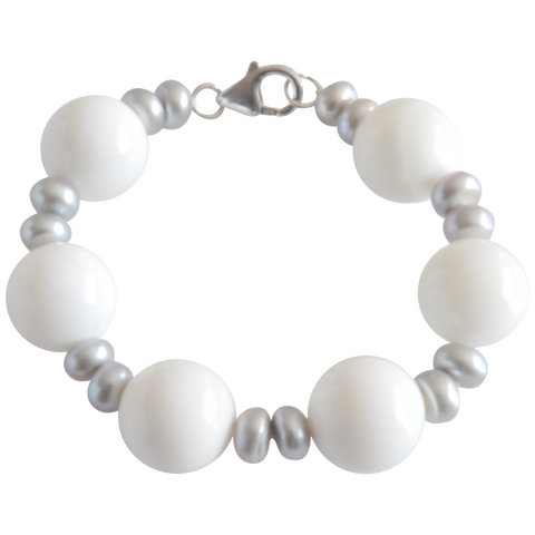 Grey Button & White Bead Freshwater Pearl Bracelet - Pearly Pearl - 1