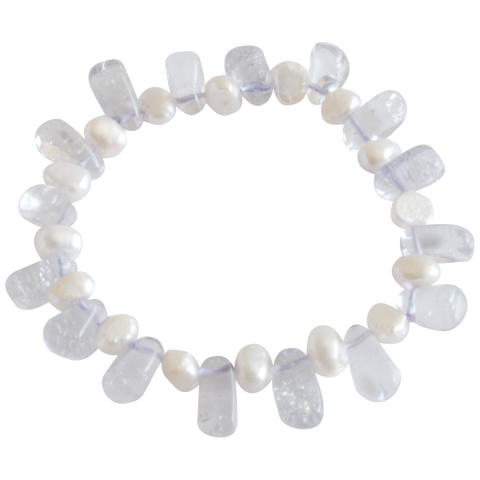 White nugget and Crystal Freshwater Pearl Bracelet - Pearly Pearl - 1