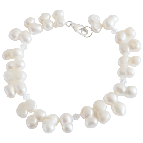 White Peanut & Crystal Freshwater Pearl Bracelet - Pearly Pearl - 1