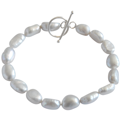 Grey Smooth Nugget Freshwater Pearl Bracelet - Pearly Pearl - 1